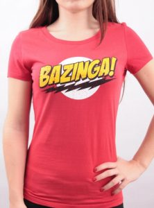 T-Shirt The Big Bang Theory Rouge Bazinga Femme